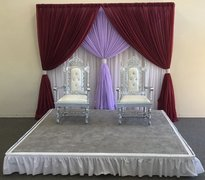 8'X8' STAGE SET WITH 3 LAYERS BACK DROP AND TWO THRONE CHAIRS