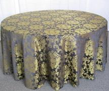 (i)BEETHOVEN DAMASK 90in ROUND (BLACK/GOLD)