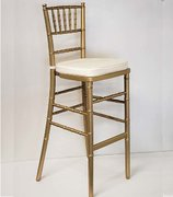 (oo) BAR STOOL GOLD CHIAVARI W/ IVORY CUSHION