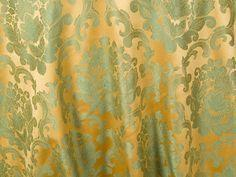 DAMASK BEETHOVEN 88inx154in RECT. (SAGE/GOLD)