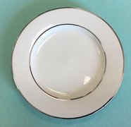 (P) CHINA - WHITE DINNER PLATE WITH SILVER BAND