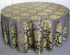 BEETHOVEN DAMASK 108in ROUND (BLACK/GOLD)