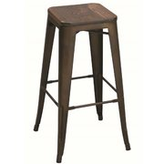 (p) BAR STOOL RUSTIC BRONZE WOOD TOP
