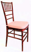 (e) CHAIR-CHAVARI MAHOGANY WITH IVORY CUSHION