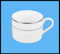 (od) CHINA - WHITE COFFEE CUP (SILVER BAND