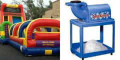 18ft Single lane slide with slip and slide and snowcone machine with 50 servings