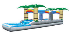 Tropical Double Lane Slip-n-slide w/pool