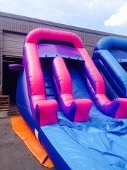 ASJ - 3 in 1, Pink and Purple 14' Slide With Basketball Hoop!