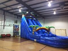 22' Blue Tropical Dual Lane Wet Slide