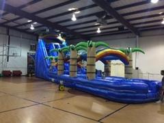 22' Blue Tropical Dual Lane Water Slide w Slip and Slide