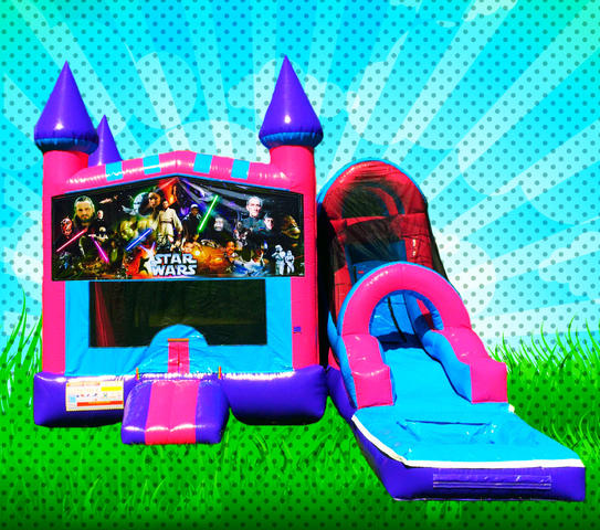 WET CLASSIC SPACE WARS Pink, Purple, Light Blue Colors Modular Combo Bounce House