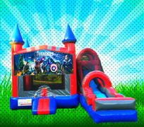 DRY SUPER HEROS Red, Blue, Gray Colors Modular Combo Bounce House