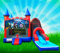 WET SUPER HEROS Red, Blue, Gray Colors Modular Combo Bounce House