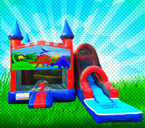 WET DINOSAURS Red, Blue, Gray Colors Modular Combo Bounce House