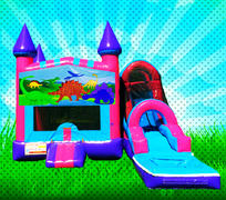 WET DINOSAURS Pink, Purple, Light Blue Colors Modular Combo Bounce House