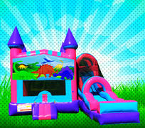 DRY DINOSAURS Pink, Purple, Light Blue Colors Modular Combo Bounce House