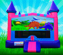 DINOSAURS Pink, Purple, Light Blue Colors Modular Bounce House