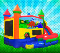 WET DINOSAURS Primary Colors Modular Combo Bounce House