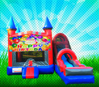 DRY HAPPY BIRTHDAY Red, Blue, Gray Colors Modular Combo Bounce House