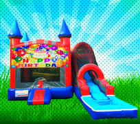 WET HAPPY BIRTHDAY Red, Blue, Gray Colors Modular Combo Bounce House