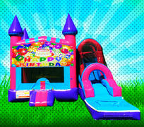 WET HAPPY BIRTHDAY Pink, Purple, Light Blue Colors Modular Combo Bounce House