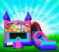 DRY HAPPY BIRTHDAY Pink, Purple, Light Blue Colors Modular Combo Bounce House