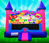 HAPPY BIRTHDAY! Pink, Purple, Light Blue Colors Modular Bounce House