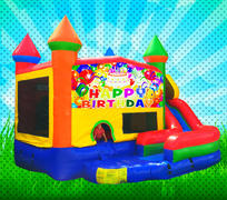 WET HAPPY BIRTHDAY Primary Colors Modular Combo Bounce House