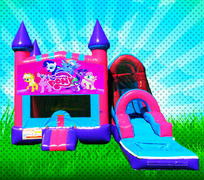 WET MY LITTLE PONY Pink, Purple, Light Blue Colors Modular Combo Bounce House