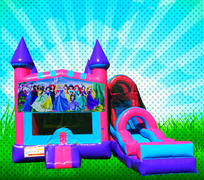 DRY PRINCESSES Pink, Purple, Light Blue Colors Modular Combo Bounce House
