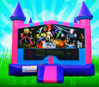 CLASSIC SPACE WARS Pink, Purple, Light Blue Colors Modular Bounce House
