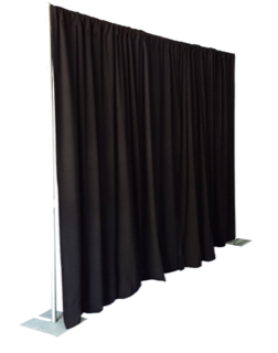 Pipe and Drape Black 8' High X 10' Long Section