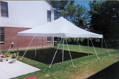 15x15 Pole Tent Package Tables & Chairs for 24 seats (Black Chairs)