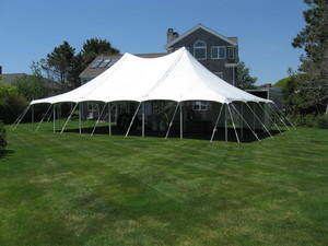 30x45 Pole Tent Package Seats 100 (Black Chairs)