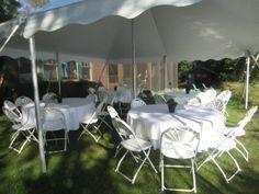 20x20 Ultimate Tent Package Tables & Chairs Seats 32 (White Fanback Chairs)