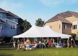 20x30 Pole Tent Package Tables & Chairs Seats 48 (White Chairs)