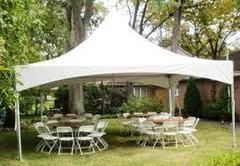 20x20 Ultimate Tent Package Tables & Chairs Seats 32 (White Chairs)