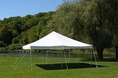 20x20 Pole Tent Package Tables & Chairs for 32 Seats  (Black Chairs)