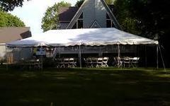 20x40 Pole Tent Package Tables & Chairs Seats 64 (White Chairs)