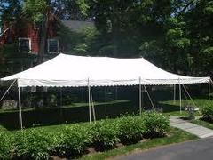 20x40 Pole Tent Package Tables & Chairs Seats 64 (Black Chairs)