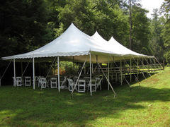 30x60 Pole Tent Package Tables & Chairs Seats 150 (White Chairs)