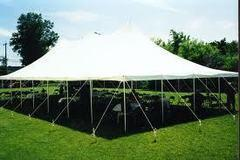30x60 Pole Tent Package Tables & Chairs Seats 150 (Black Chairs)
