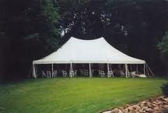 30x45 Pole Tent Package Tables & Chairs Seats 100 (White Chairs)