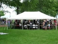 20x30 Pole Tent Package Tables & Chairs Seats 48 (Black Chairs)