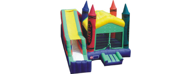 Crayon Inflatable Bounce House Dry Slide Combo