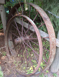 Antique Steel Wagon Wheels Large