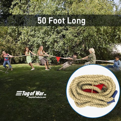 EASYGO 50 FOOT TUG OF WAR ROPE WITH FLAG