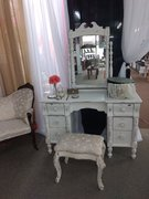 Vintage Distressed Ivory Dresser with Mirror