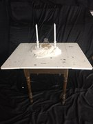 Folding Square White Distressed Table