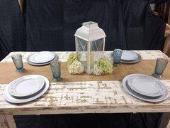 6ft White Distressed Farm Table